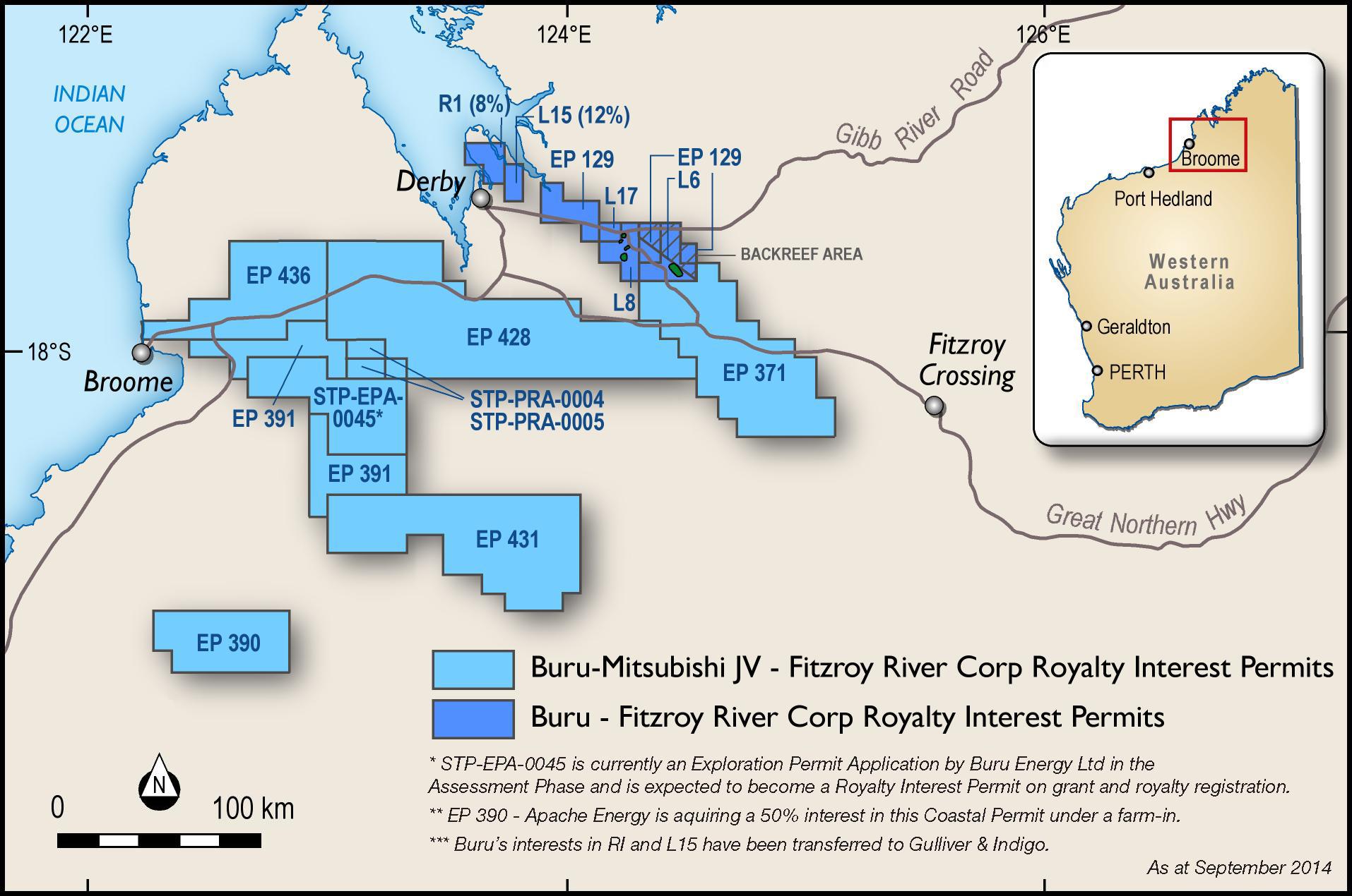 Map of Buru tenements and FZR tenements